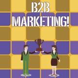 Begreppsm?ssig handhandstil som visar B2B marknadsf?ringen Marknadsföring för affärsfototext av produkter till affärer eller anna stock illustrationer