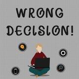 Begreppsm?ssig handhandstil som visar fel beslut Affärsfoto som ställer ut handling eller att föra att tillfoga skada utan förfal royaltyfri illustrationer