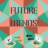 Begreppsm?ssig handhandstil som visar framtida trender Aff?rsfoto som st?ller ut prognoser som p?verkar teknologikunder och stock illustrationer