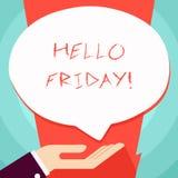 Begreppsm?ssig handhandstil som visar Hello fredag Aff?rsfotoet som st?ller ut dig, s?ger detta f?r att ?nska och hoppas ett anna royaltyfri illustrationer