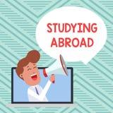 Begreppsm?ssig handhandstilvisning som utomlands studerar Att ställa ut för affärsfoto lär förutom hemmet i främmande land royaltyfri illustrationer