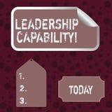 Begreppsm?ssig kapacitet f?r ledarskap f?r handhandstilvisning Kapacitet f?r aff?rsfototext att p?verka f?r att leda andra vektor illustrationer