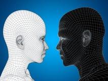 Begreppsmässig wireframe 3D eller den mänskliga mannen och kvinnlign för ingrepp head Arkivbild