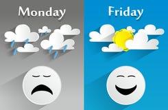 Begreppsmässiga känsliga måndag till fredag Arkivbilder