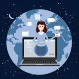 Begreppsonline-assistent, kund och operatör, call center, online-global teknisk service 24-7 Jordbakgrund stock illustrationer