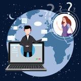 Begreppsonline-assistent, kund och operatör, call center, online-global teknisk service 24-7 Jordbakgrund vektor illustrationer