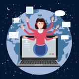 Begreppsonline-assistent, kund och operatör, call center, online-global teknisk service 24-7 Jordbakgrund royaltyfri illustrationer