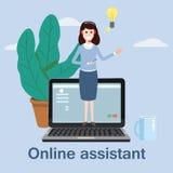Begreppsonline-assistent, kund och operatör, call center, online-global teknisk service 24-7 också vektor för coreldrawillustrati stock illustrationer
