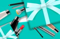 Begreppsonline-shoppingskönhetsmedel, sikt för bakgrund för gåvaaskar bästa Sale annonser, tidskrift eller katalogmalldesign på vektor illustrationer