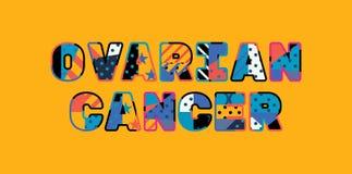 Begreppsord Art Illustration för äggstocks- cancer vektor illustrationer
