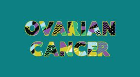 Begreppsord Art Illustration för äggstocks- cancer stock illustrationer