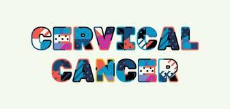 Begreppsord Art Illustration för cervikal cancer stock illustrationer
