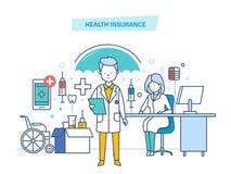 begreppssjukförsäkring som isoleras över white Medicinsk försäkring för liv och för olycka stock illustrationer