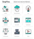 Begreppssymboler, design och idérik process, tunn linje design för lägenhet royaltyfri illustrationer
