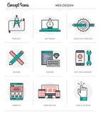 Begreppssymboler, rengöringsdukdesign, tunn linje design för lägenhet Arkivfoto
