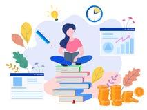 Begreppsutbildning, online-utbildning, internet som studerar, online-bo vektor illustrationer
