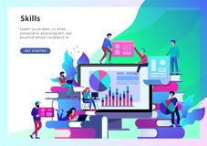 Begreppsutbildningsfolk, internet som studerar och direktanslutet att utbilda, online-bok stock illustrationer