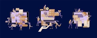 Begreppsutbildningsfolk, internet som studerar och direktanslutet att utbilda, online-bok royaltyfri illustrationer