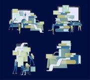 Begreppsutbildningsfolk, internet som studerar och direktanslutet att utbilda, online-bok vektor illustrationer