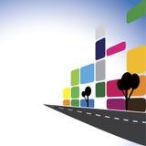 Begreppsvektor - färgrika kontorsbyggnader, lägenheter, skyscrap Arkivbild