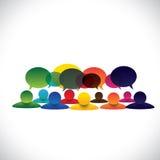 Begreppsvektorn av folk grupperar samtal- eller anställddiskussioner royaltyfri illustrationer