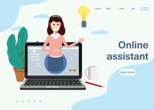 Begreppswebbsidaonline-assistent, kund och operatör, call center, online-global teknisk service 24-7 vektor stock illustrationer