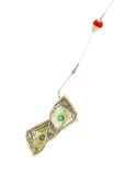 Begrifflich. Dollarschein in einem Haken Stockbilder