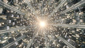 Begriffs-flytrough über der fantastischen Stadtunterwelt 4k Videowiedergabe der animation 3d lizenzfreie abbildung