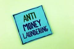Begriffs- Handschrift, die Anti-Monay Laundring zeigt Das Präsentationsc$hereinkommen des Geschäftsfotos projektiert, weg schmutz stockbilder