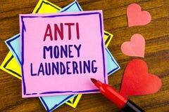 Begriffs- Handschrift, die Anti-Monay Laundring zeigt Hereinkommende Projekte des Geschäftsfoto-Textes, zum des weg schmutzigen G lizenzfreies stockbild
