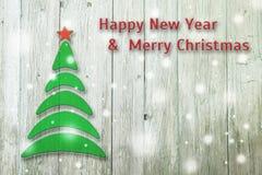Begriffsbaum des neuen Jahres und des Weihnachten auf einem alten hölzernen Hintergrund Lizenzfreies Stockfoto