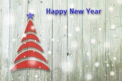 Begriffsbaum des neuen Jahres und des Weihnachten auf einem alten hölzernen Hintergrund Lizenzfreie Stockfotos
