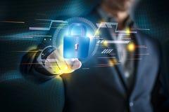 Begriffsbild des Geschäftsmannes mit Sozialverbindung, on-line-Netztechnikgeschäft stockfotografie