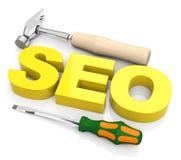 Begriffsbild mit Schlüsselwortwolke um SEO Zeichen Stockfotografie