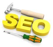 Begriffsbild mit Schlüsselwortwolke um SEO Zeichen Stockfoto