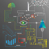 Begriffsbild mit Schlüsselwortwolke um SEO Zeichen Lizenzfreies Stockfoto