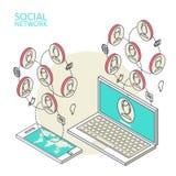 Begriffsbild mit sozialen Netzwerken flach Stockfotografie