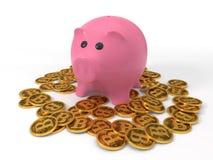 Begriffsdesign von bitcoin prägt mit moneybox 3d Illustration Stockbild