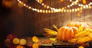 Begriffserntegraphik mit verschiedenem Gemüse auf dem Feld Autumn Thanksgiving-Kürbise Lizenzfreies Stockfoto