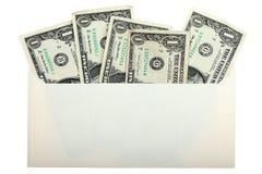 Begriffsfoto von US-Dollars innerhalb des Umschlags stockbild