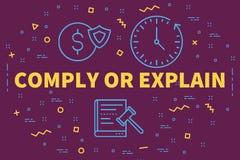 Begriffsgeschäftsillustration mit den Wörtern willigen oder explai ein lizenzfreie abbildung