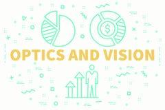 Begriffsgeschäftsillustration mit der Wörter Optik und dem visio stock abbildung
