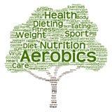 Begriffsgesundheits- oder Diätbaumwortwolke Stockbild