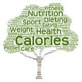 Begriffsgesundheits- oder Diätbaumwortwolke Stockbilder