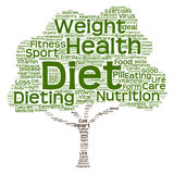 Begriffsgesundheits- oder Diätbaumwortwolke Lizenzfreies Stockfoto