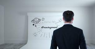 Begriffsgraphik auf Wand des Raumes 3D Lizenzfreie Stockfotos