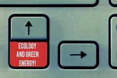 Begriffshandschrift, die Ökologie und grüne Energie zeigt Geschäftsfototext Umweltschutz, der die Wiederbenutzung aufbereitet lizenzfreie stockbilder