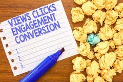 Begriffshandschrift, die Ansicht-Klicken-Verpflichtungs-Umwandlung zeigt Geschäftsfototext Social Media-Plattformoptimierung lizenzfreies stockfoto