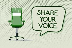 Begriffshandschrift, die Anteil Ihre Stimme zeigt Geschäftsfoto, das Angestellten oder Mitglied bitten, seins zu geben zur Schau  stock abbildung
