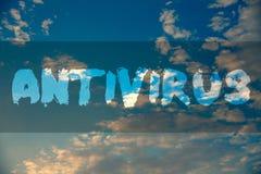 Begriffshandschrift, die Antivirus zeigt Geschäftsfoto Präsentationsverwahrungs-Sperren-Brandmauer-Sicherheits-Verteidigungs-Schu Lizenzfreie Stockbilder
